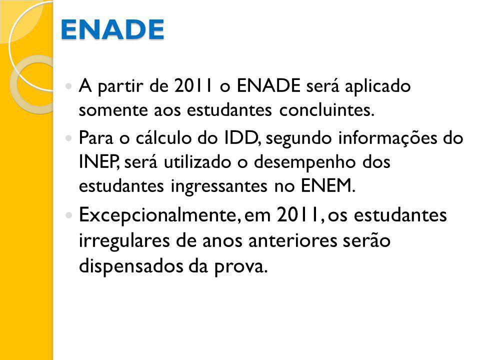 ENADE A partir de 2011 o ENADE será aplicado somente aos estudantes concluintes.