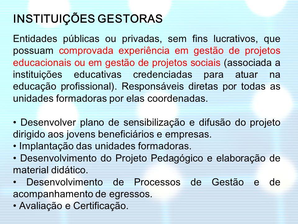 INSTITUIÇÕES GESTORAS