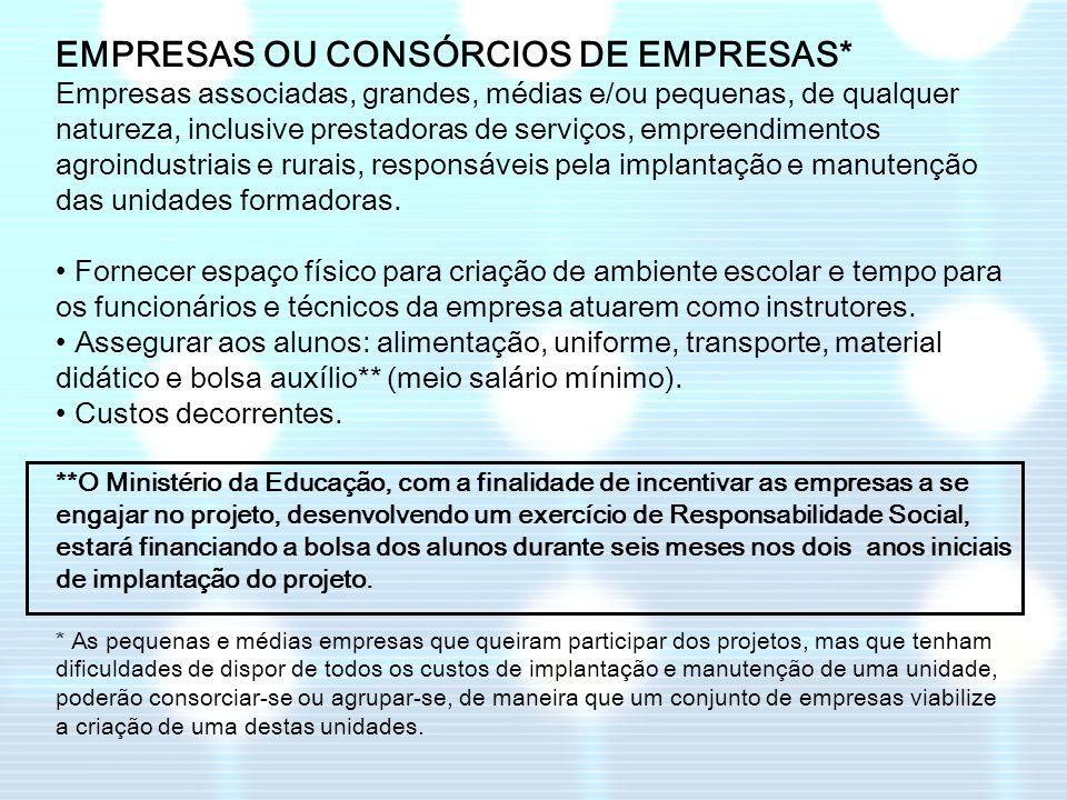 EMPRESAS OU CONSÓRCIOS DE EMPRESAS*