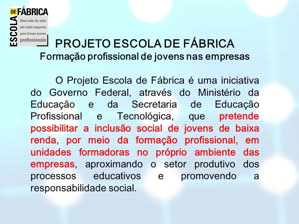 PROJETO ESCOLA DE FÁBRICA Formação profissional de jovens nas empresas