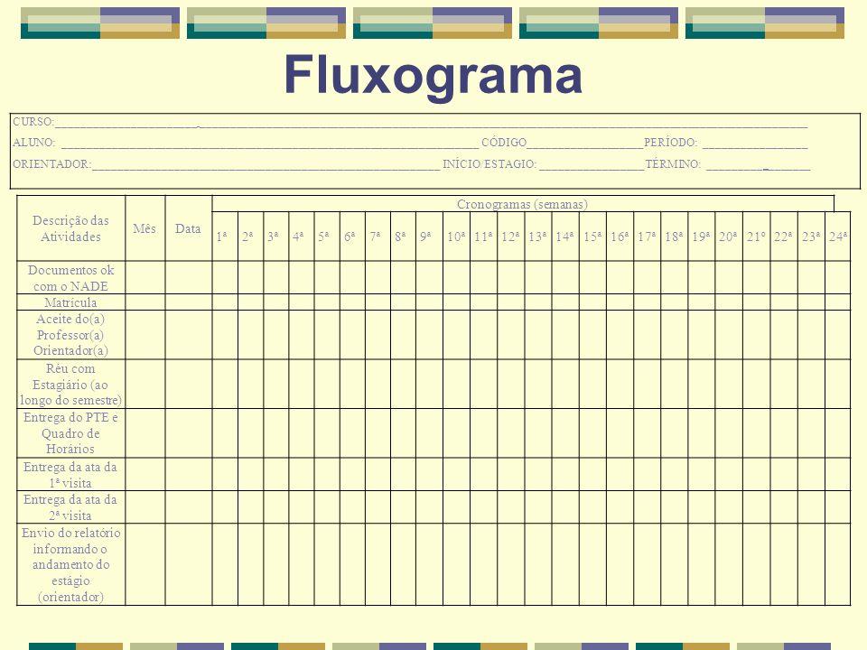 Fluxograma Descrição das Atividades Mês Data Cronogramas (semanas) 1ª