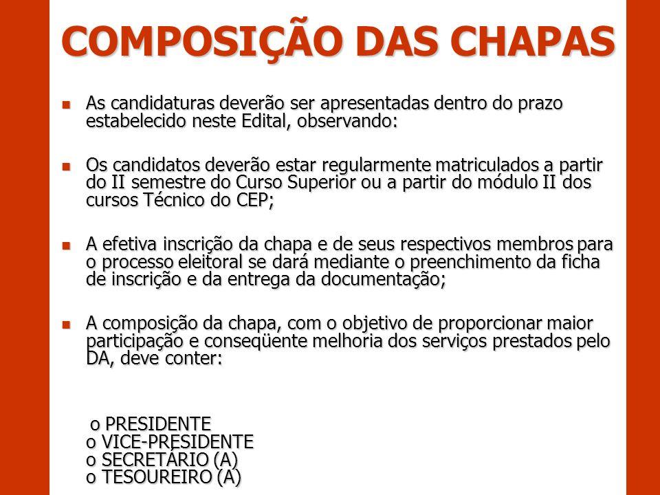 COMPOSIÇÃO DAS CHAPAS As candidaturas deverão ser apresentadas dentro do prazo estabelecido neste Edital, observando: