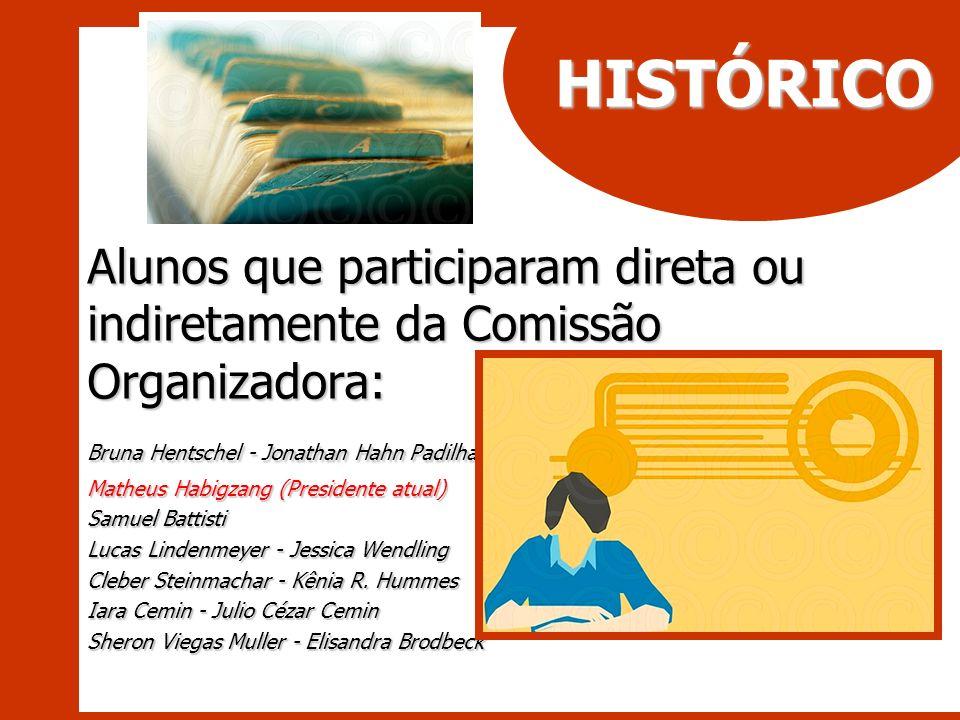 HISTÓRICO Alunos que participaram direta ou indiretamente da Comissão Organizadora: Bruna Hentschel - Jonathan Hahn Padilha.