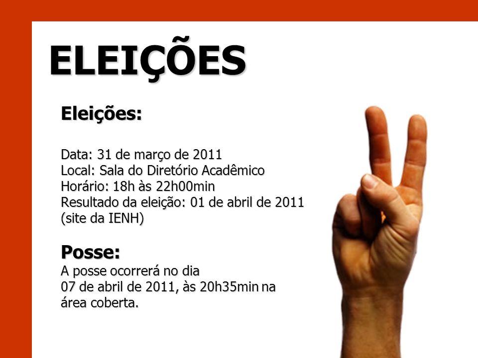 ELEIÇÕES Eleições: Posse: Data: 31 de março de 2011