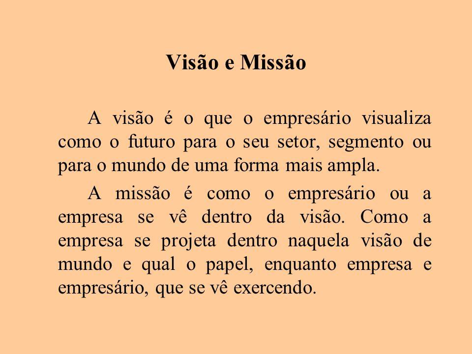 Visão e Missão A visão é o que o empresário visualiza como o futuro para o seu setor, segmento ou para o mundo de uma forma mais ampla.