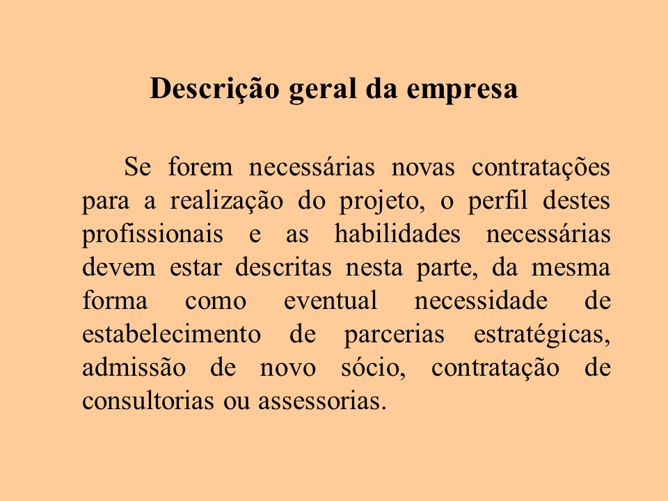 Descrição geral da empresa