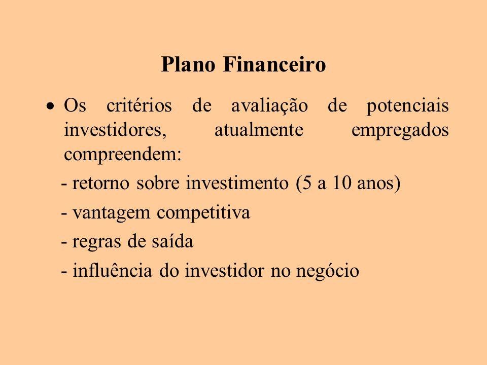 Plano Financeiro Os critérios de avaliação de potenciais investidores, atualmente empregados compreendem: