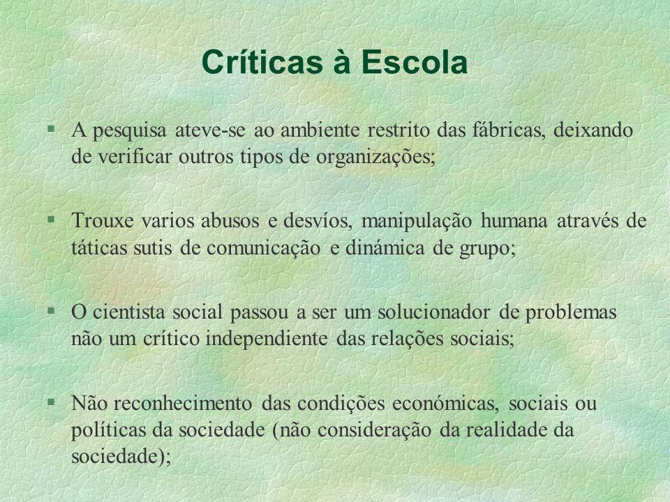 Críticas à Escola A pesquisa ateve-se ao ambiente restrito das fábricas, deixando de verificar outros tipos de organizações;