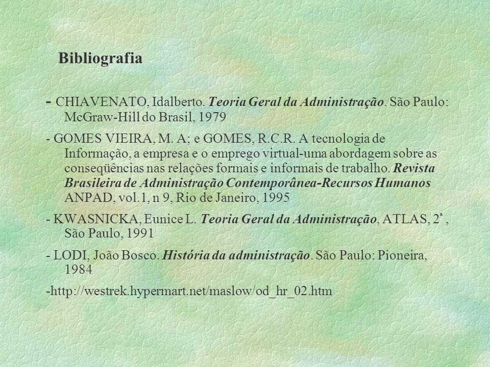 Bibliografia- CHIAVENATO, Idalberto. Teoria Geral da Administração. São Paulo: McGraw-Hill do Brasil, 1979.