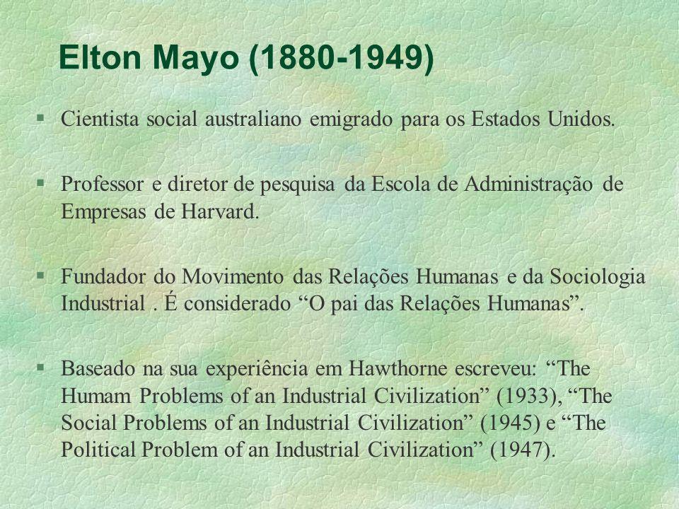 Elton Mayo (1880-1949) Cientista social australiano emigrado para os Estados Unidos.