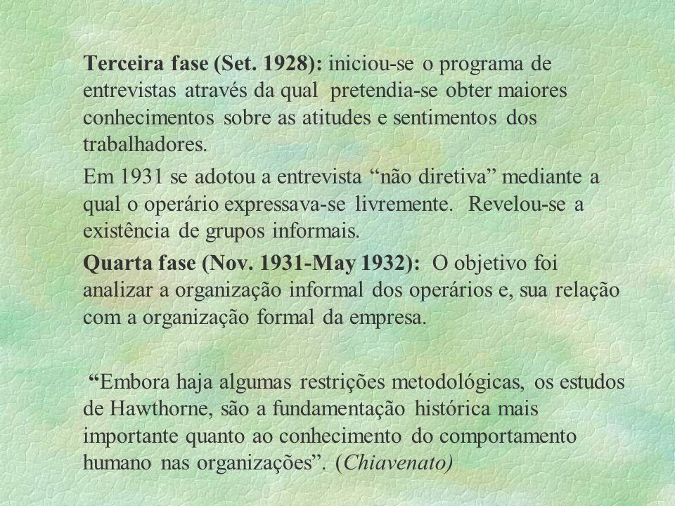 Terceira fase (Set. 1928): iniciou-se o programa de entrevistas através da qual pretendia-se obter maiores conhecimentos sobre as atitudes e sentimentos dos trabalhadores.