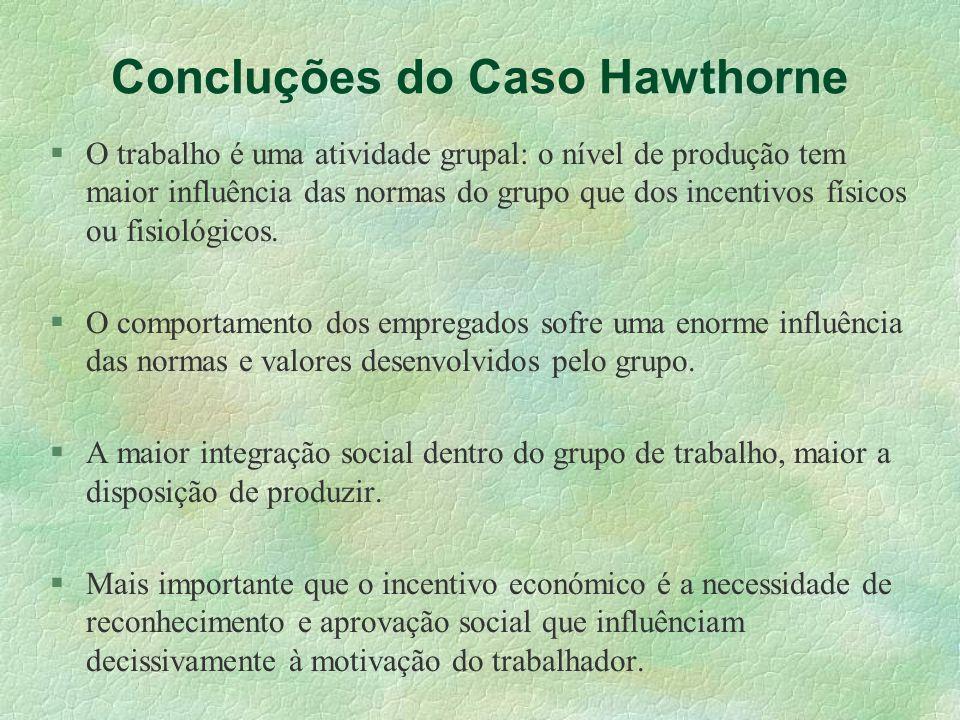 Concluções do Caso Hawthorne