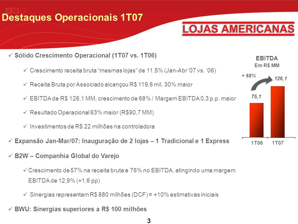 Destaques Operacionais 1T07