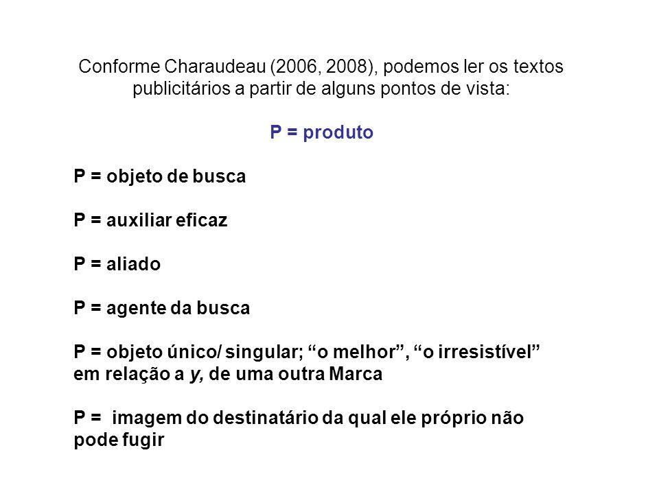 Conforme Charaudeau (2006, 2008), podemos ler os textos publicitários a partir de alguns pontos de vista: