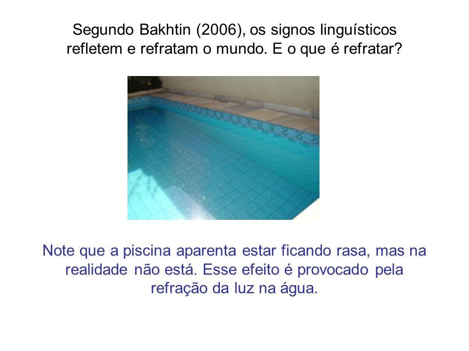 Segundo Bakhtin (2006), os signos linguísticos refletem e refratam o mundo. E o que é refratar