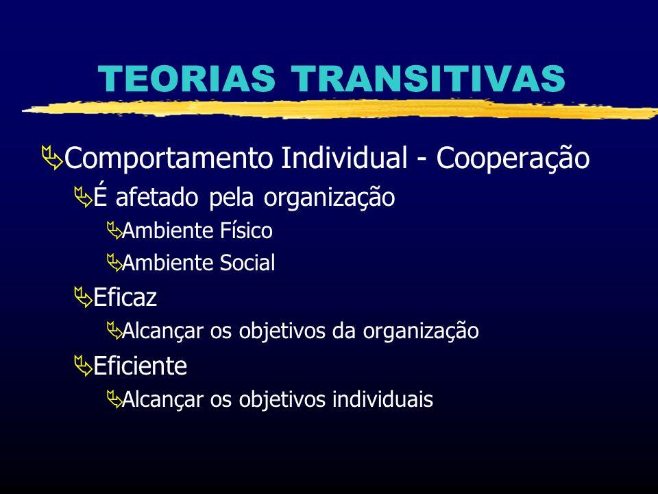 TEORIAS TRANSITIVAS Comportamento Individual - Cooperação