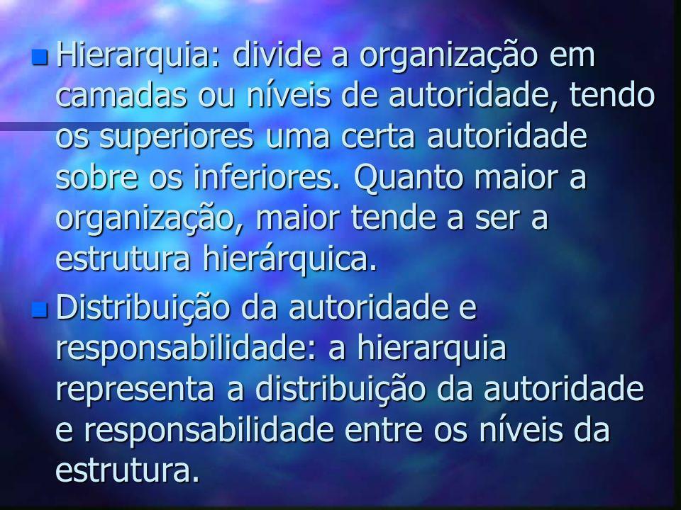 Hierarquia: divide a organização em camadas ou níveis de autoridade, tendo os superiores uma certa autoridade sobre os inferiores. Quanto maior a organização, maior tende a ser a estrutura hierárquica.