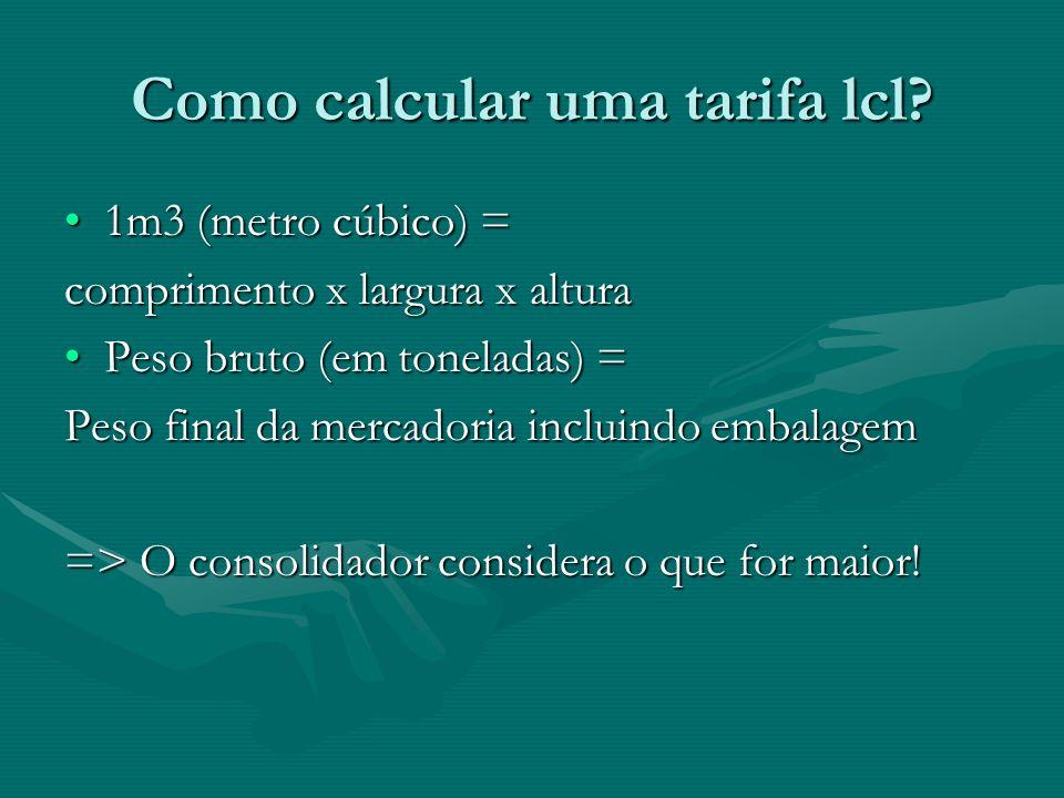 Como calcular uma tarifa lcl