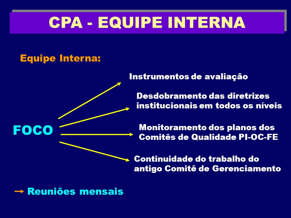 CPA - EQUIPE INTERNA FOCO Equipe Interna: Reuniões mensais