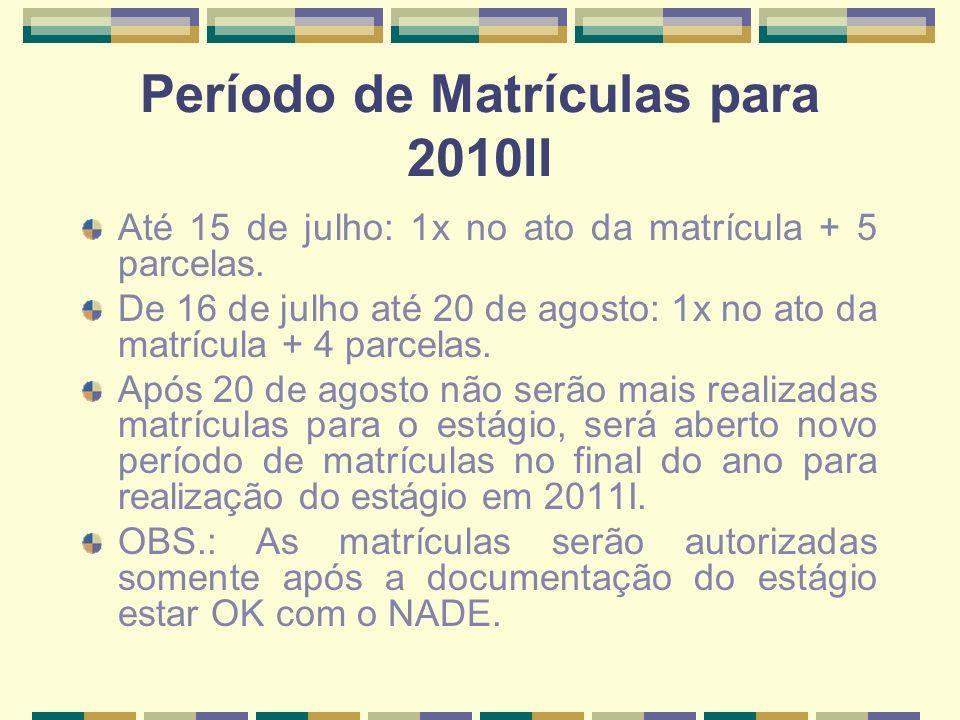 Período de Matrículas para 2010II