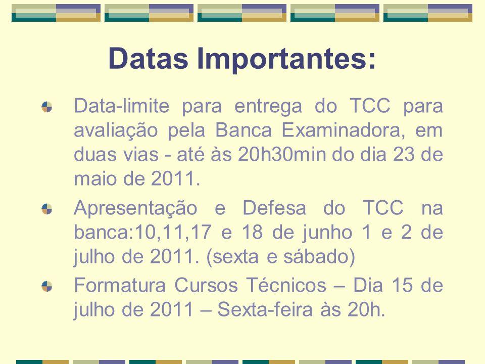 Datas Importantes:Data-limite para entrega do TCC para avaliação pela Banca Examinadora, em duas vias - até às 20h30min do dia 23 de maio de 2011.