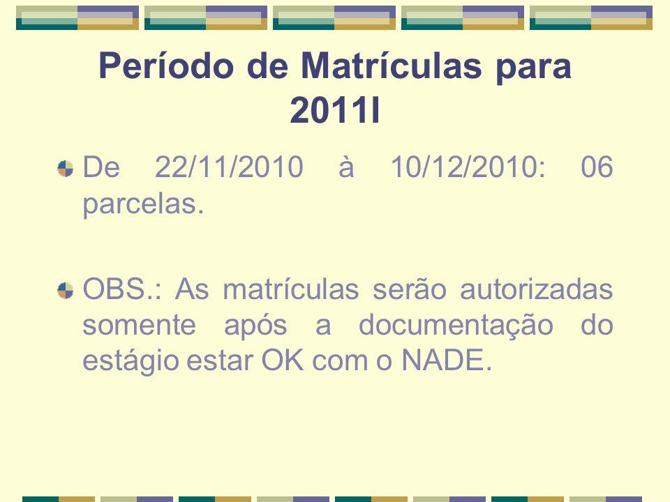 Período de Matrículas para 2011I