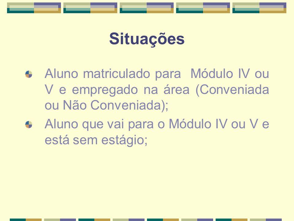 Situações Aluno matriculado para Módulo IV ou V e empregado na área (Conveniada ou Não Conveniada);