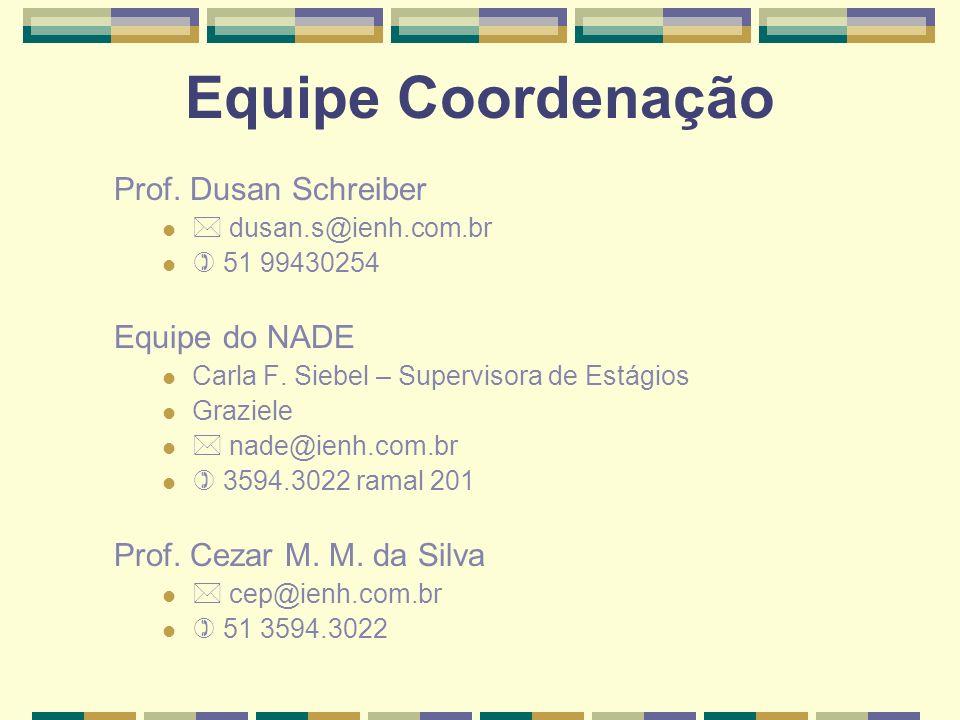 Equipe Coordenação Prof. Dusan Schreiber Equipe do NADE