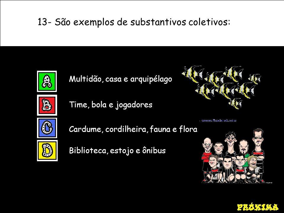 13- São exemplos de substantivos coletivos: