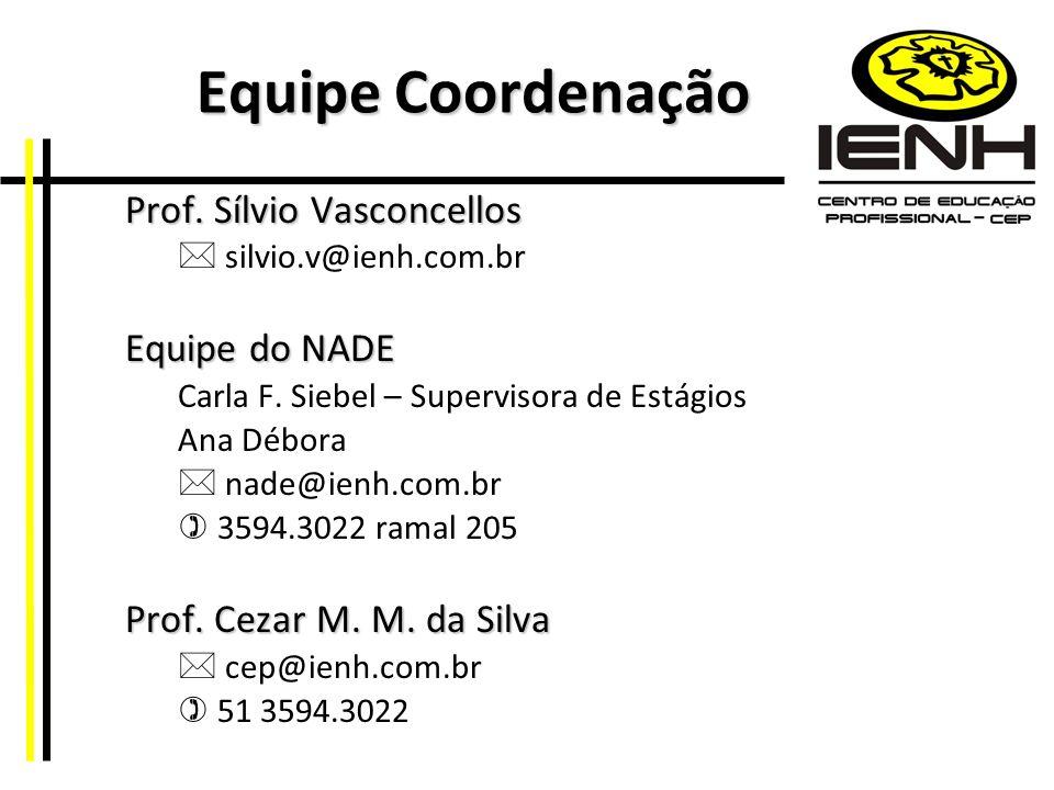 Equipe Coordenação Prof. Sílvio Vasconcellos Equipe do NADE
