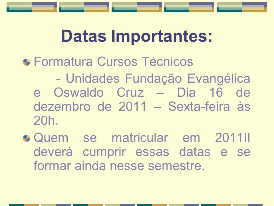 Datas Importantes: Formatura Cursos Técnicos