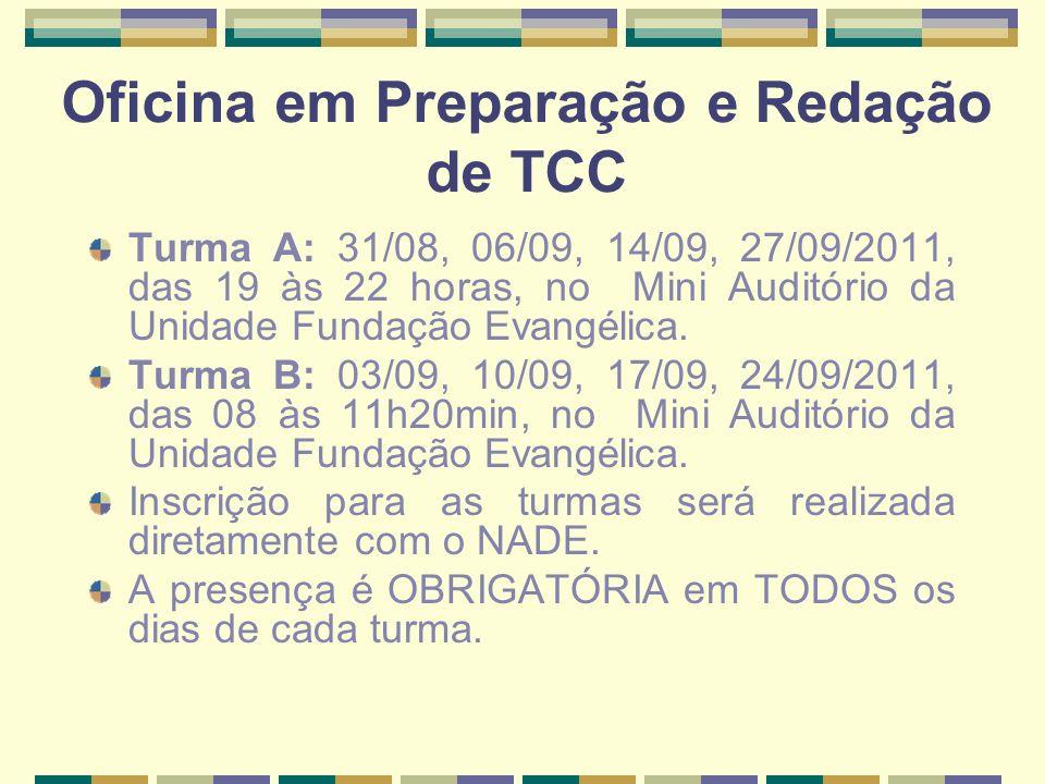 Oficina em Preparação e Redação de TCC