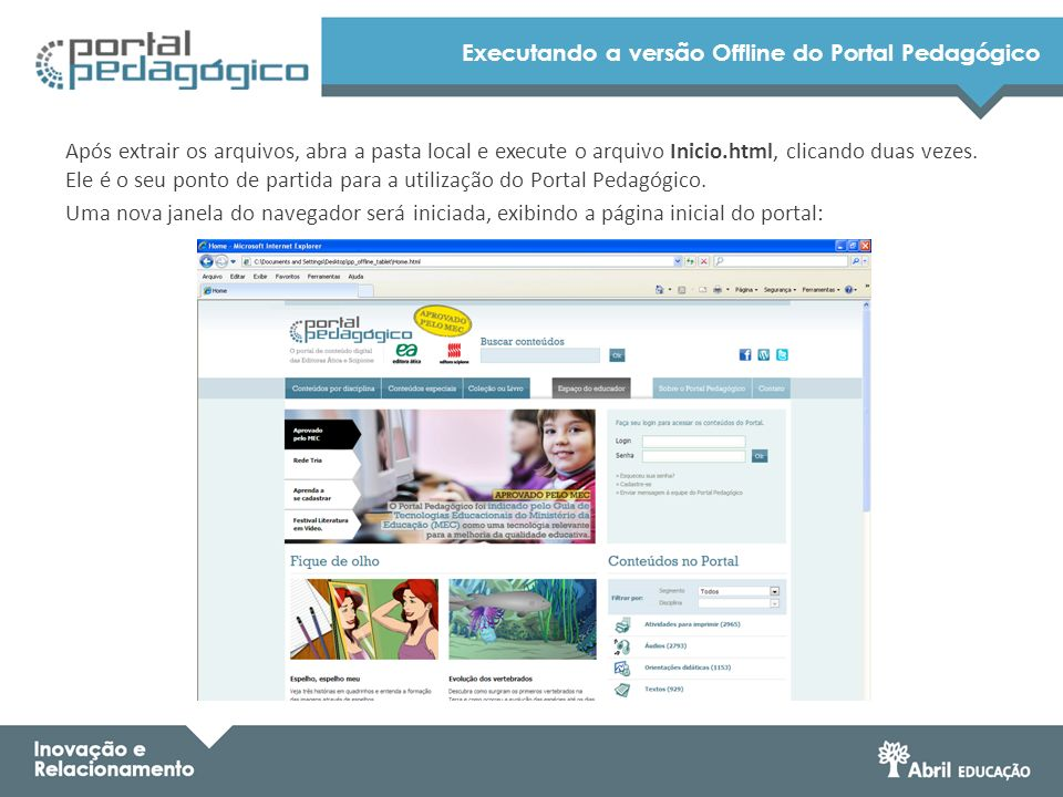 Executando a versão Offline do Portal Pedagógico