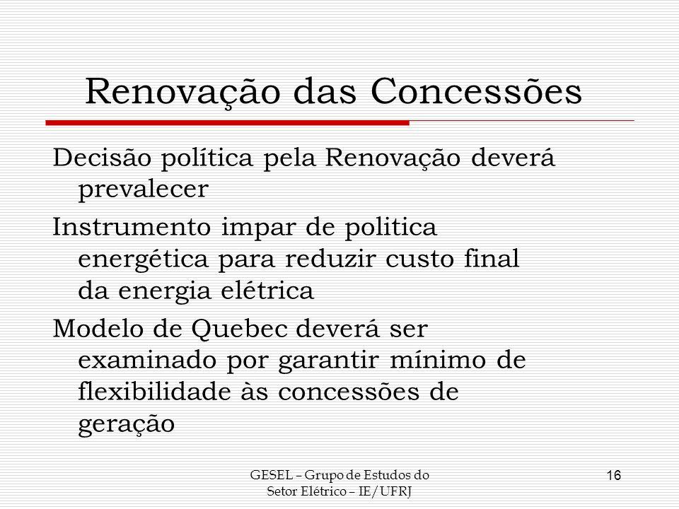 Renovação das Concessões
