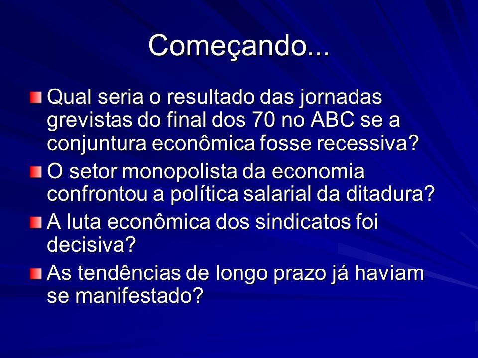 Começando... Qual seria o resultado das jornadas grevistas do final dos 70 no ABC se a conjuntura econômica fosse recessiva