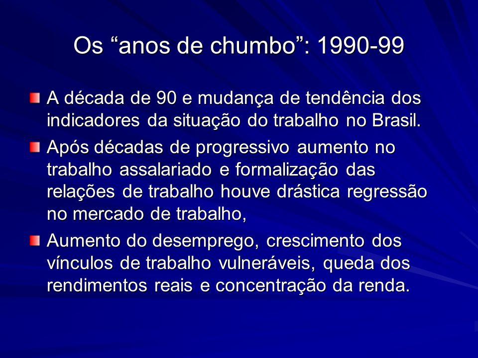 Os anos de chumbo : 1990-99 A década de 90 e mudança de tendência dos indicadores da situação do trabalho no Brasil.