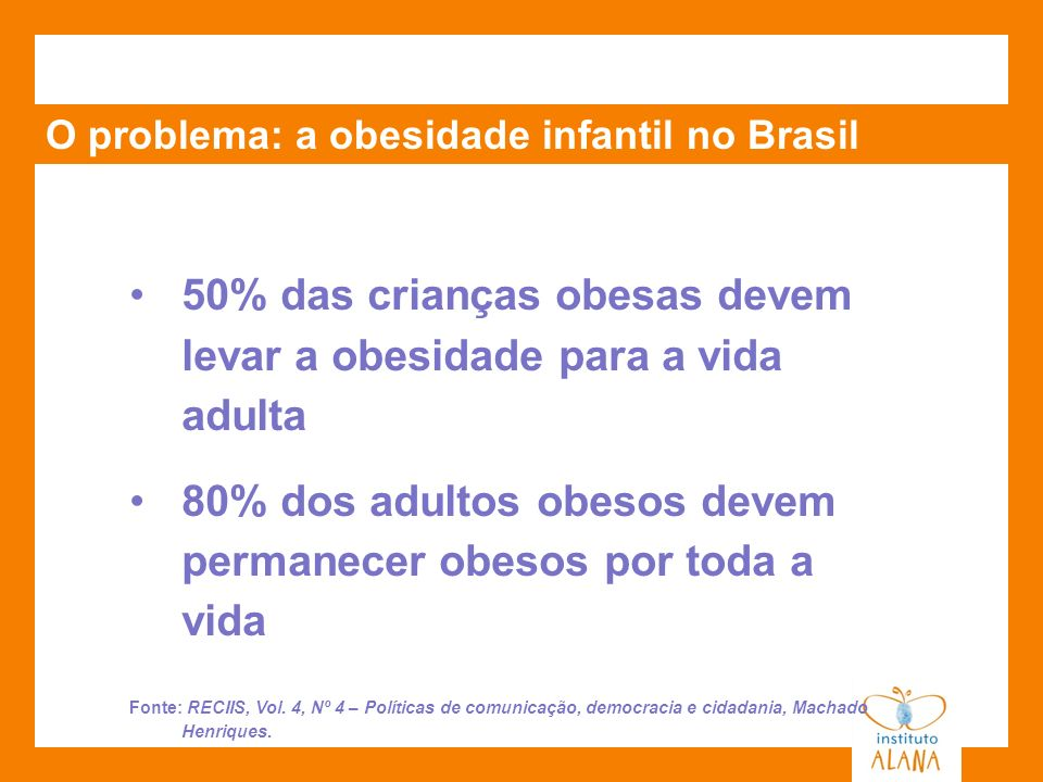 50% das crianças obesas devem levar a obesidade para a vida adulta