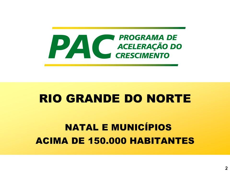 RIO GRANDE DO NORTE NATAL E MUNICÍPIOS ACIMA DE 150.000 HABITANTES
