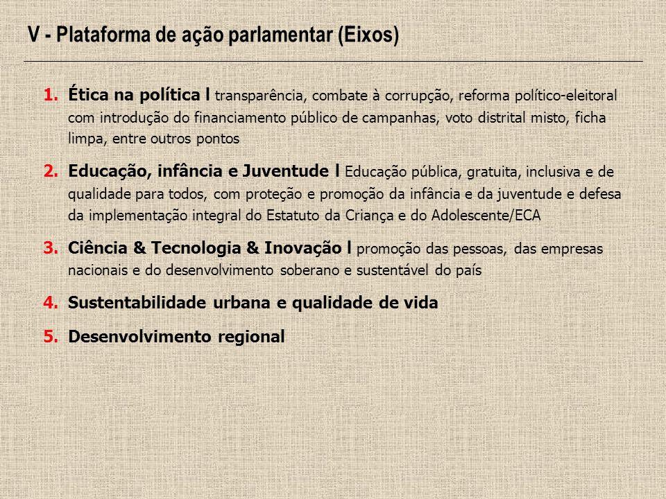 V - Plataforma de ação parlamentar (Eixos)