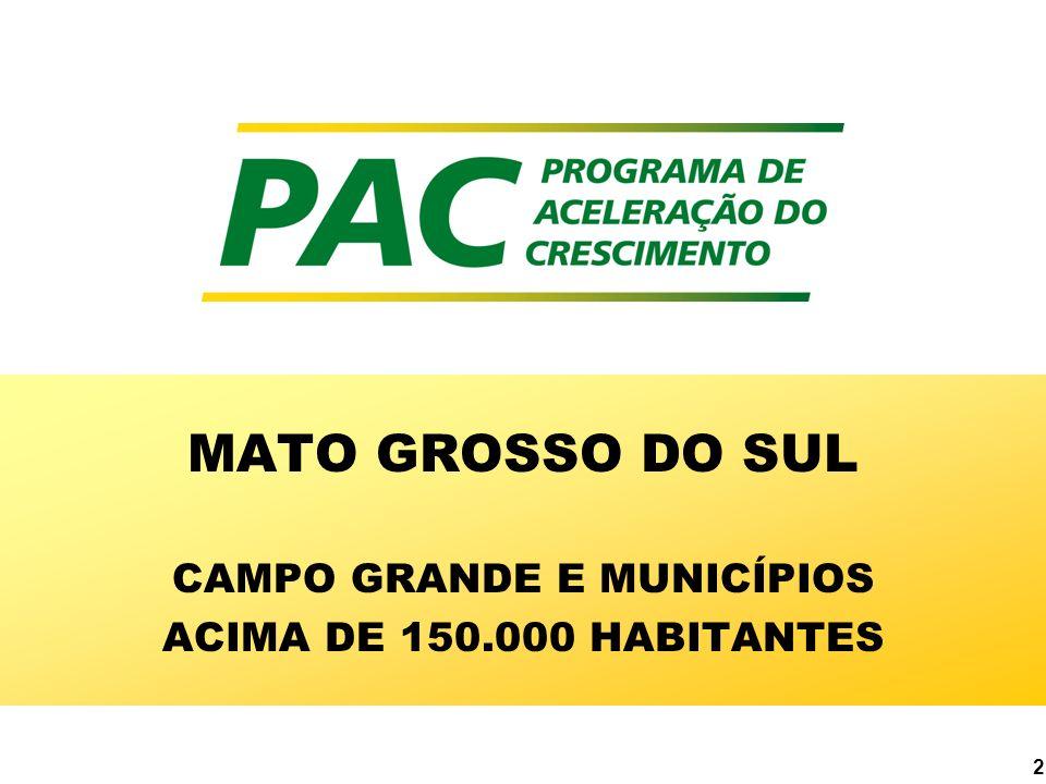 MATO GROSSO DO SUL CAMPO GRANDE E MUNICÍPIOS ACIMA DE 150