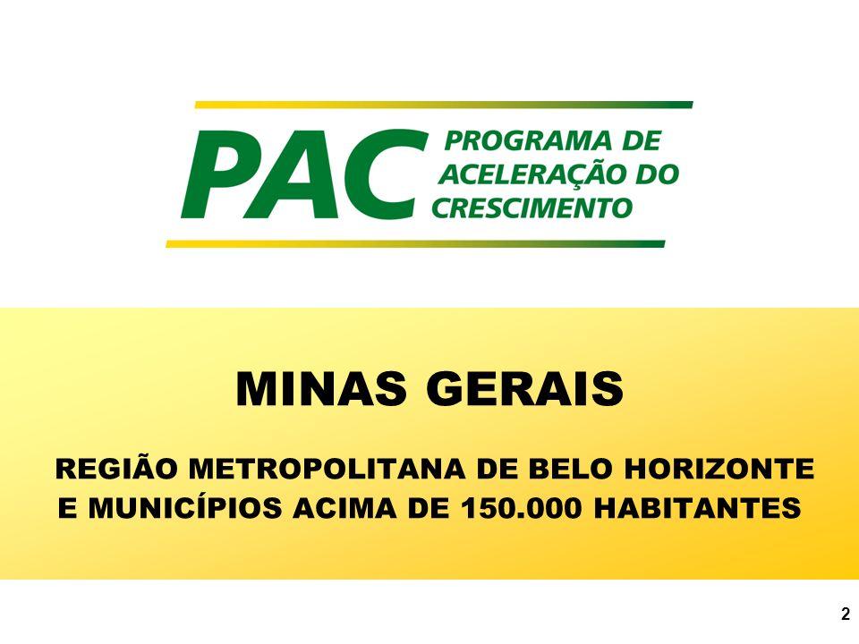 MINAS GERAIS REGIÃO METROPOLITANA DE BELO HORIZONTE E MUNICÍPIOS ACIMA DE 150.000 HABITANTES
