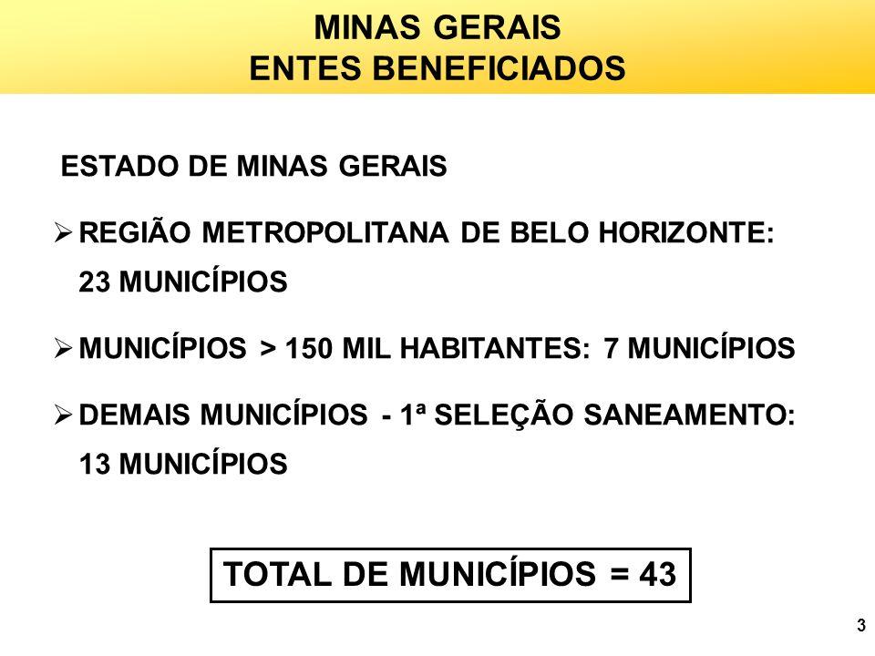 MINAS GERAIS ENTES BENEFICIADOS TOTAL DE MUNICÍPIOS = 43