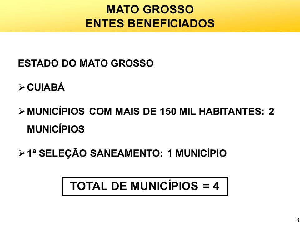 MATO GROSSO ENTES BENEFICIADOS TOTAL DE MUNICÍPIOS = 4