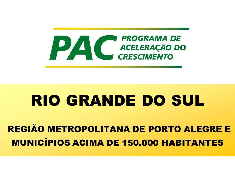 RIO GRANDE DO SUL REGIÃO METROPOLITANA DE PORTO ALEGRE E MUNICÍPIOS ACIMA DE 150.000 HABITANTES