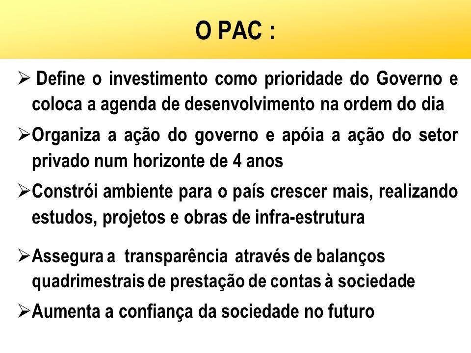 O PAC : Define o investimento como prioridade do Governo e coloca a agenda de desenvolvimento na ordem do dia.