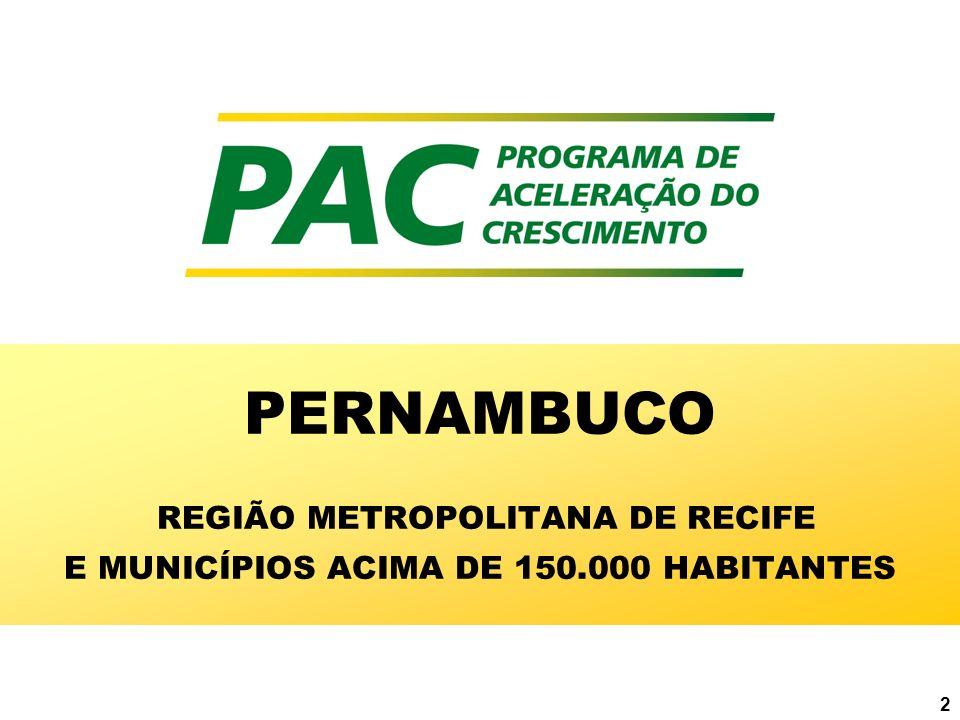 PERNAMBUCO REGIÃO METROPOLITANA DE RECIFE E MUNICÍPIOS ACIMA DE 150