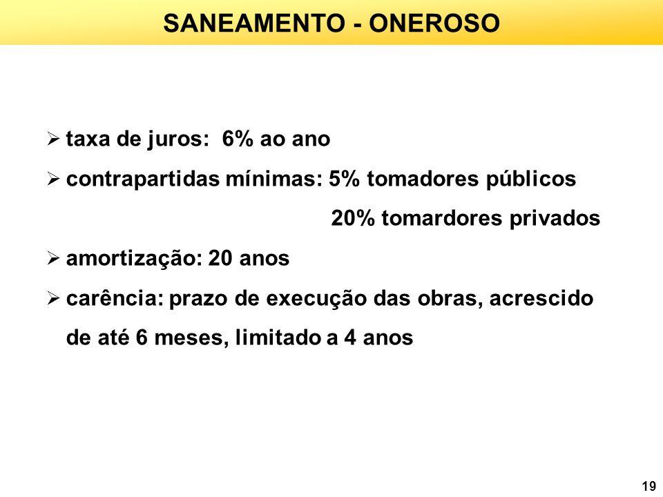 SANEAMENTO - ONEROSO taxa de juros: 6% ao ano