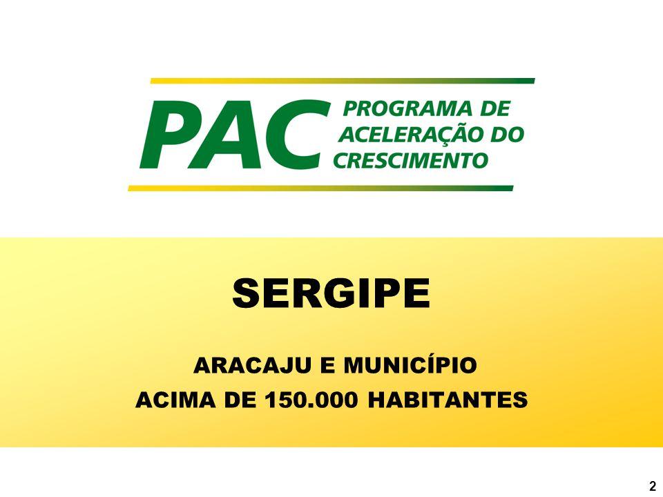 SERGIPE ARACAJU E MUNICÍPIO ACIMA DE 150.000 HABITANTES