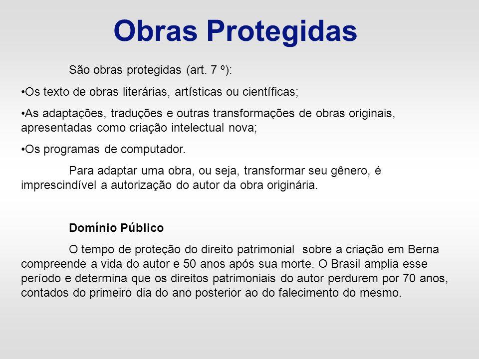 Obras Protegidas São obras protegidas (art. 7 º):