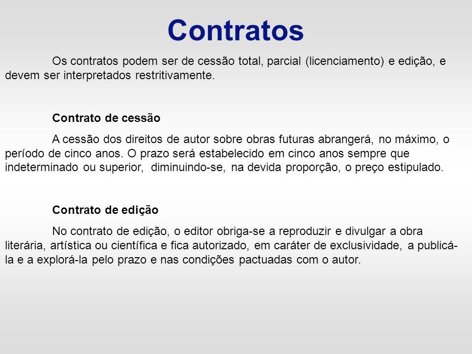 ContratosOs contratos podem ser de cessão total, parcial (licenciamento) e edição, e devem ser interpretados restritivamente.